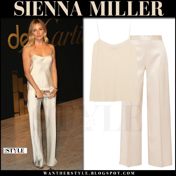 Sienna Miller in biege silk camisole the row biggins and silk pants the row selip what she wore may 5 2017