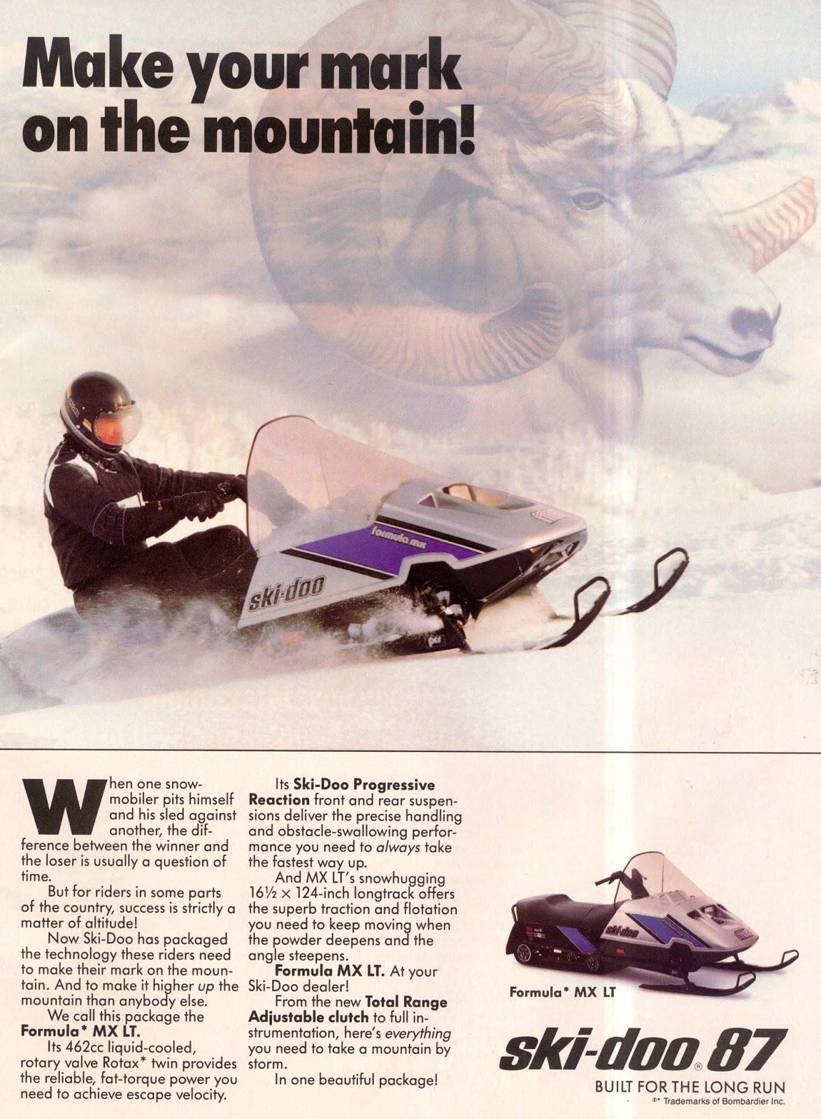 1987 SKI DOO FORMULA MX LT SNOWMOBILE
