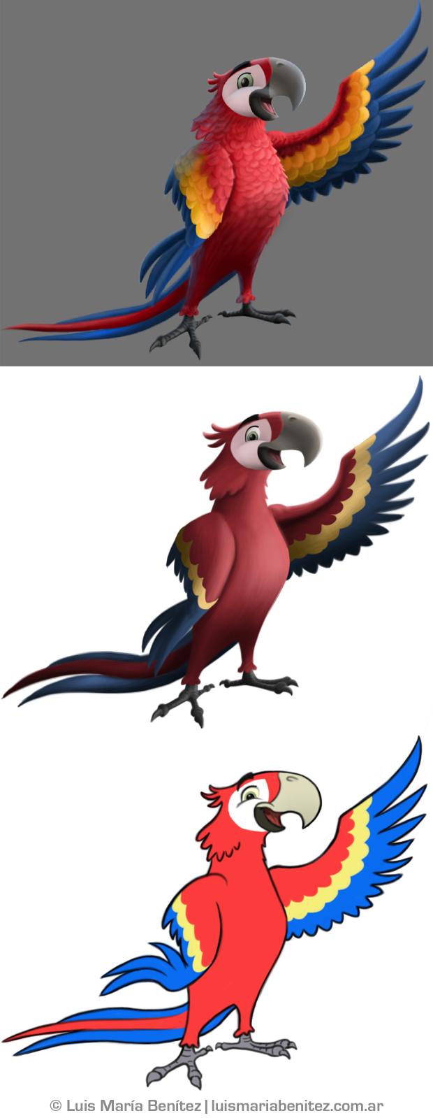Character design process (Scarlet Macaw) / Proceso de diseño de personaje (Guara Roja) © Luis María Benítez