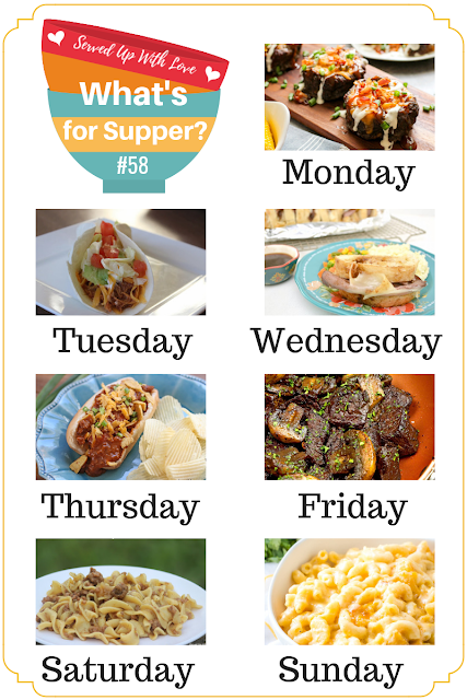 What's for Supper Sunday meal plan recipes include Crock Pot Chicken Tacos, Fully Loaded Burger Bowls, Chili Cheese Dogs, Beef and Noodles, and so much more.