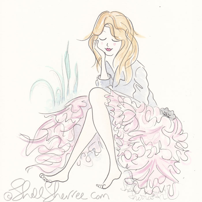 Barefoot & Fluffy, Pensive in Pink Fashion Illustration © Shell Sherree