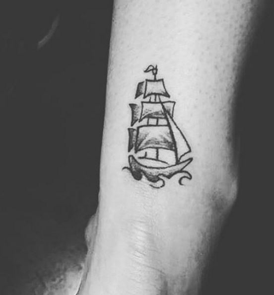Small Viking Ship Tattoo