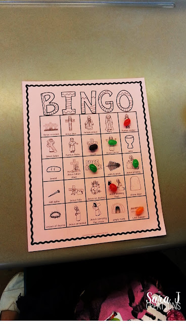 Religious Easter Bingo is a fun game for kids to play to review Holy Week and the story of Easter.  I love that this keeps the focus on Jesus instead of the Easter Bunny.
