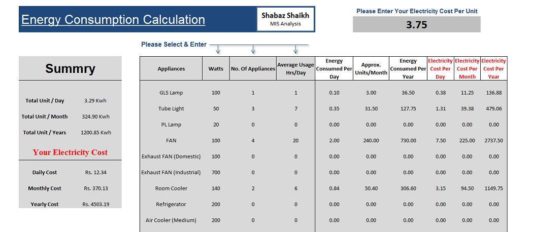 1  Electricity Bill Calculator Template - In excel format - Get 2