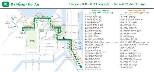 Lộ trình tuyến xe buýt số 1: Bến xe Trung tâm Đà Nẵng - Bến xe Hội An
