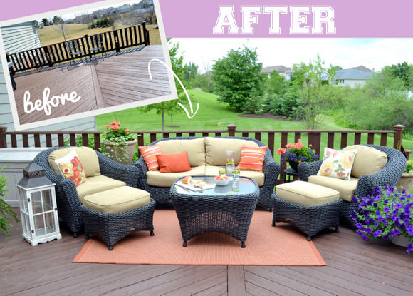Before and After Deck transformation outdoor living room