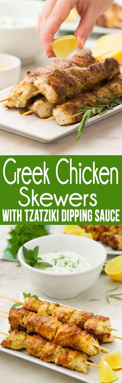 Greek Chicken Skewers With Tzatziki Dipping Sauce