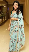 Indian Television Model Actress Navya Swamy In Traditional Blue Saree
