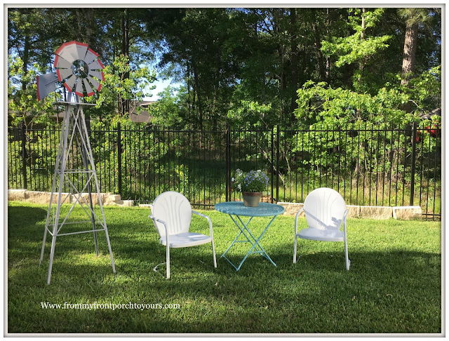 Backyard Landscape- Windmill-Vintage Patio Furniture-From My Front Porch To Yours