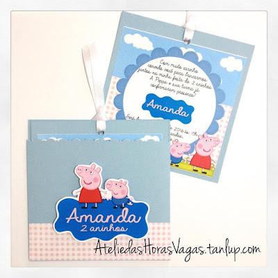 convite artesanal aniversário infantil personalizado peppa pig george azul 2 aninhos menina criança