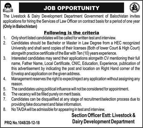 Jobs In Livestock And Dairy Development Department Dec 2018