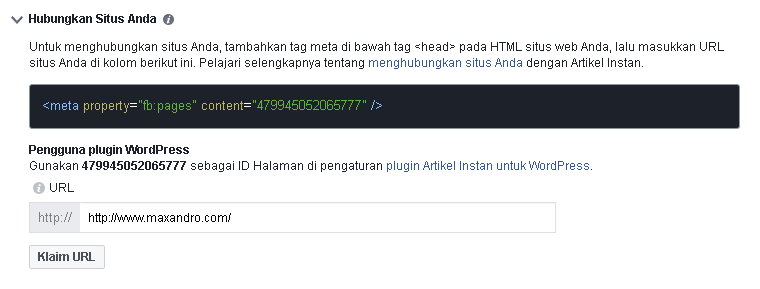 Cara Menghubungkan Situs di Instant Article FB