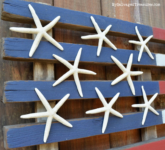 rustic repurposed flag Fusion Mineral Paint and starfish