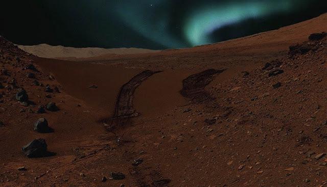 auroras no céu de Marte