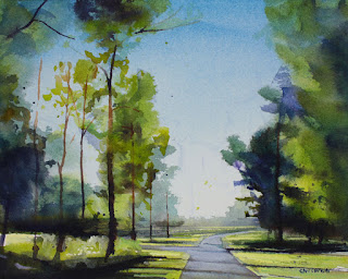 A watercolor painting of the Amherst Bike Path