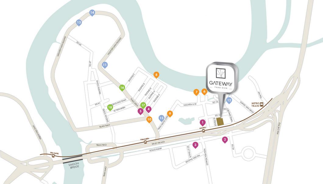 Vị trí căn hộ Gateway Thảo Điền