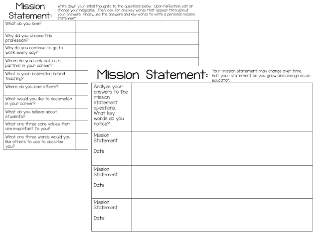 Mission Statement template for educators