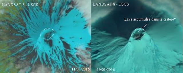 Modification du cratère du volcan Alaid, 05 février 2016