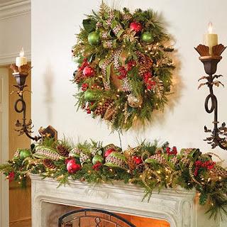 Decoración chimenea navideña