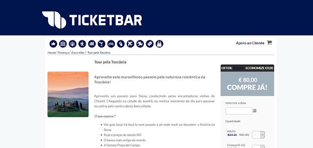 Ticketbar para ingressos para um tour pela Toscânia