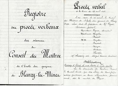 Extrait du registre des procès-verbaux des séances du Conseil de Maîtres de l'école de garçons de Blanzy (collection musée)