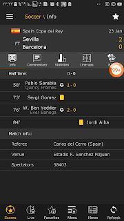 URGENT victoire de sevilla  2- 0 Barcelone coupe du roi