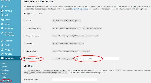 Trik Rahasia merubah Struktur URL (Permalink) di Wordpress menjadi .HTML