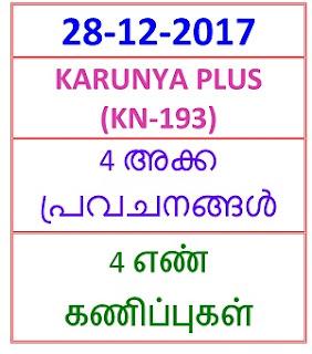 28-12-2017 4 NOS Predictions KARUNYA PLUS (KN-193)