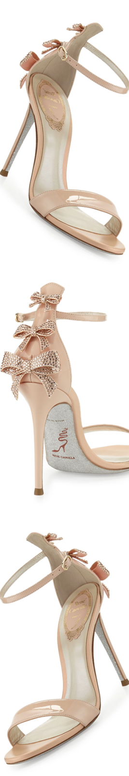 Rene Caovilla Crystal-Bow Patent 105mm Sandal, Neutral