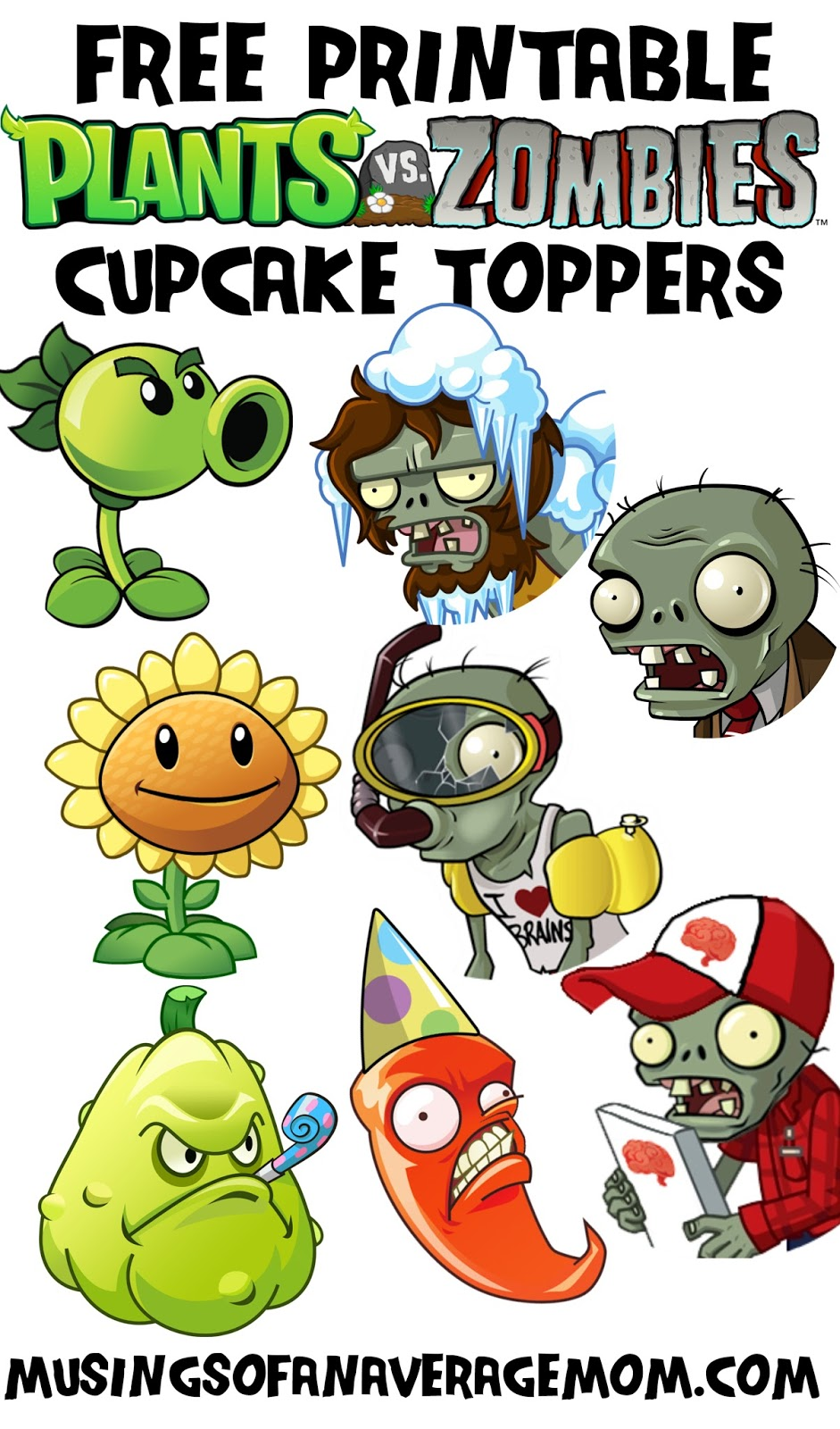 Musings Of An Average Mom Plants Vs Zombies Cupcake Toppers