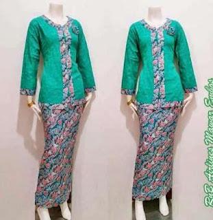 Baju batik kombinasi polos dengan rok panjang