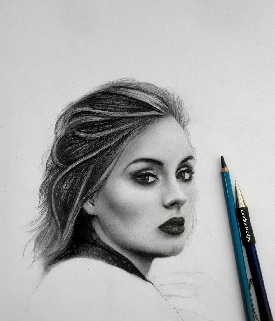 03-Adele-dhruvmignon-Celebrity-Miniature-Black-and-White-Pencil-Portraits-www-designstack-co
