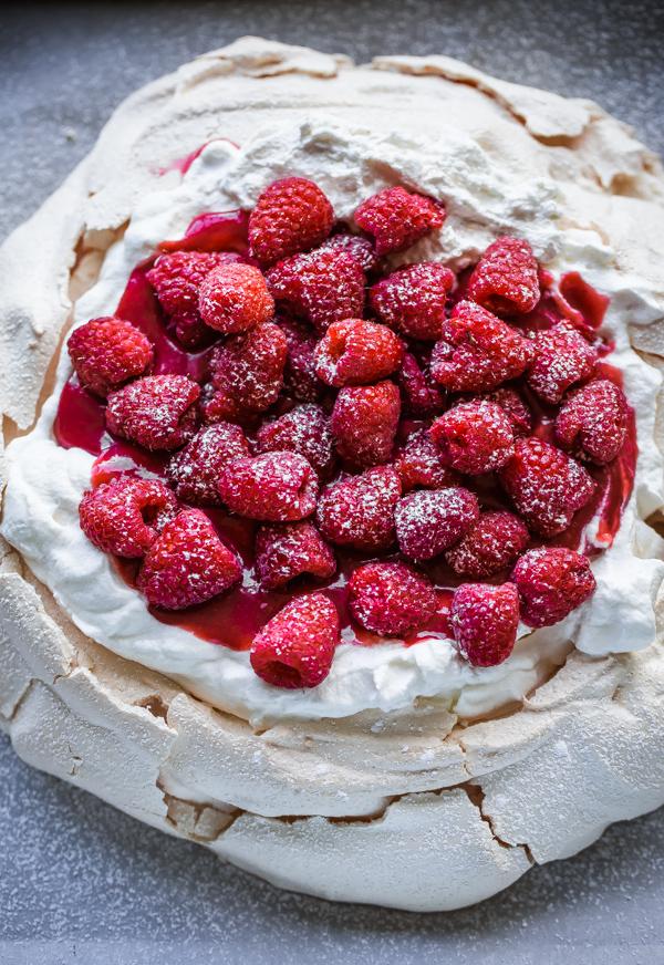 Raspberry Pavlova - perfect for Passover dessert | Land of Honey
