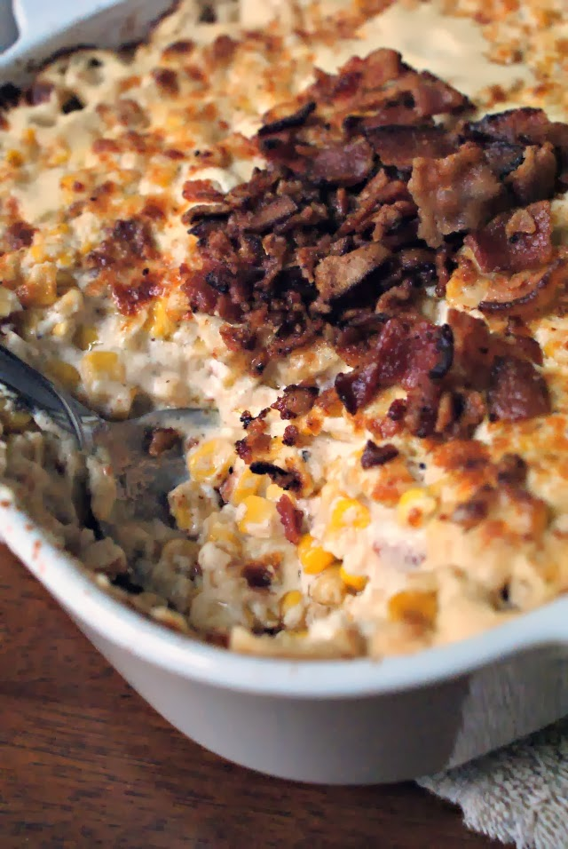 Baked Cream Cheese Corn with Crumbled Bacon is full of creamy, cheesy, bacony goodness!  It will be the star of your holiday spread! #sponsored
