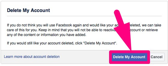 delete facebook account permanently link