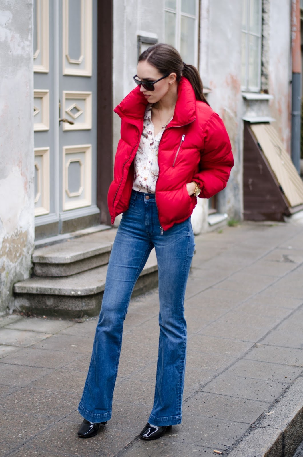 puffer jacket flare jeans outfit