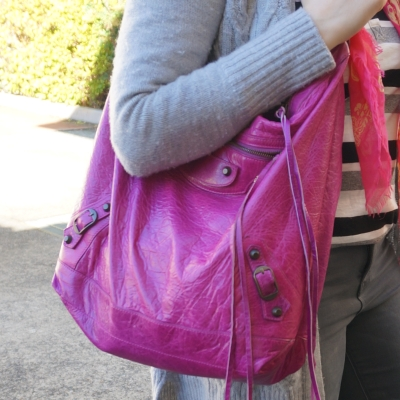 grey wool cardigan and skinny jeans, Balenciaga Day bag in 2005 magenta | Away From The Blue