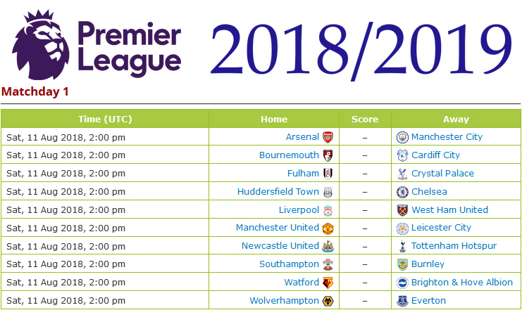 jadwal premier league 2019