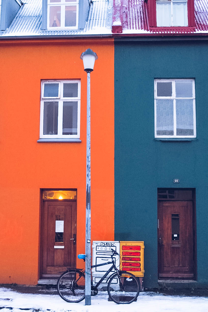 Orange and green houses in Reykjavik