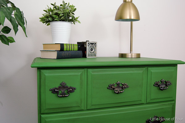 Emerald green and dark wax dresser makeover