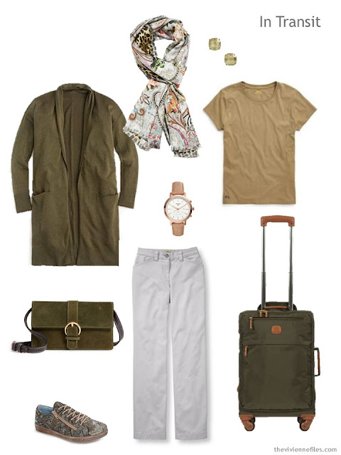 travel outfit in olive, gold and white