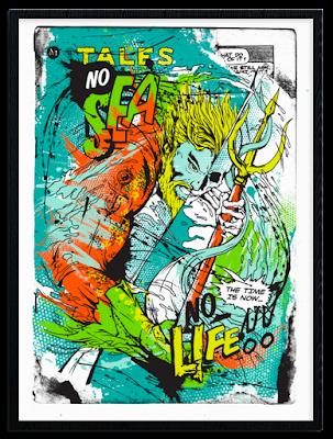 """""""Aquaman: No Sea, No Life!"""" DC Comics Regular Edition Screen Print by Meggs x PangeaSeed"""