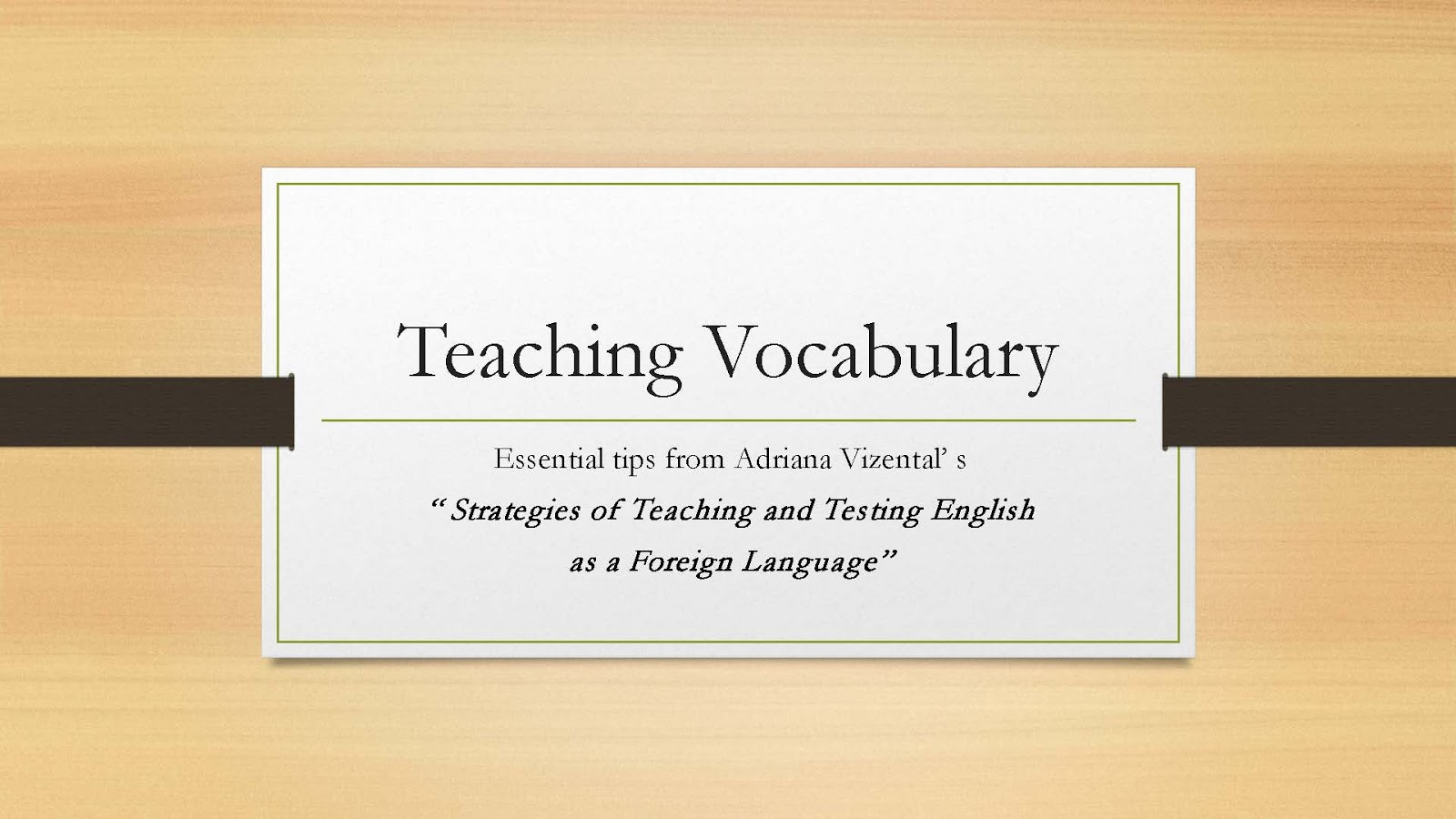the way of teaching english vocabulary Professional development modules for foreign language instruction at the high-school and college levels  the importance of actively teaching vocabulary.