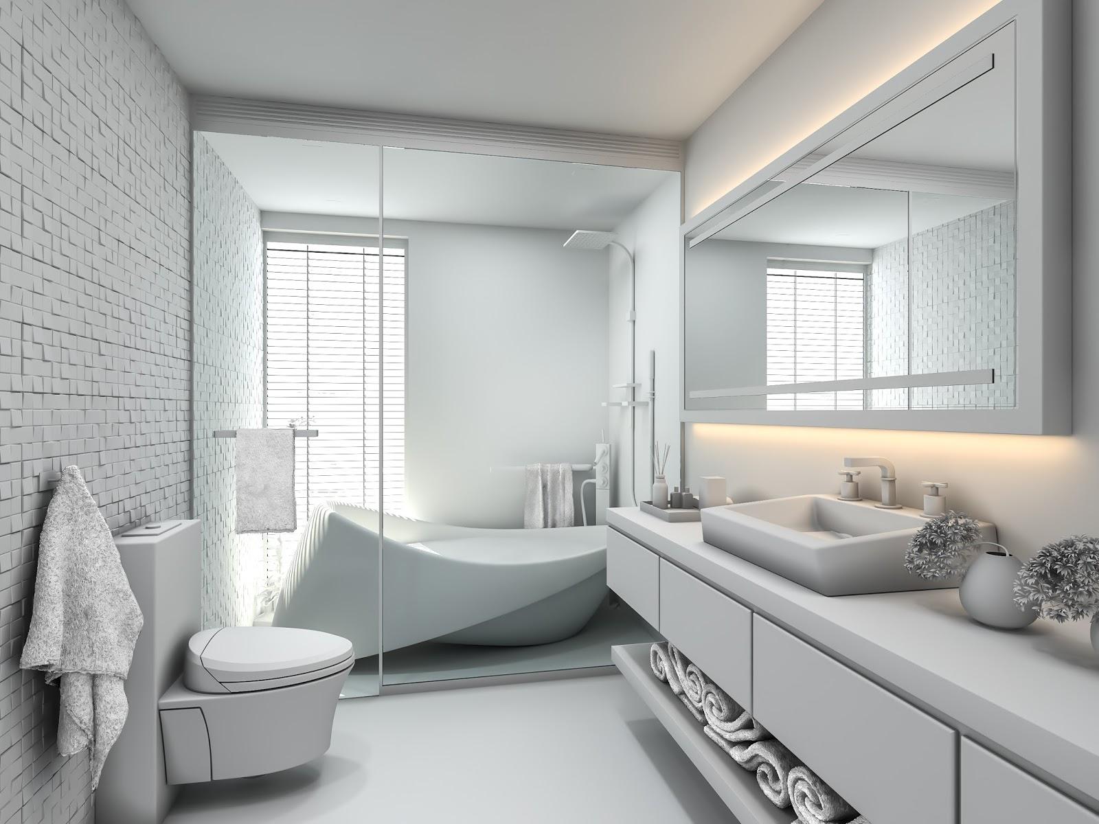 How To Create A Greyscale Bathroom: Ravi Koli 3d Artist