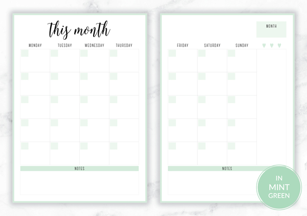 Free Printable Irma Monthly Planners by Eliza Ellis available in A4 and A5 sizes, as well as 6 pretty color themes! Shown here in the color Mint.
