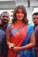 Puja Hegde looks stunning in Red saree at launch of Anutex shopping mall ~ Celebrities Galleries 099.JPG