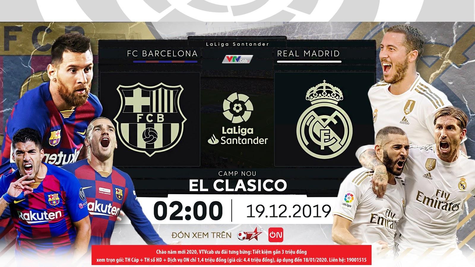 Soi kèo Barca vs Real Madrid, La Liga - 2h00 ngày 19/12