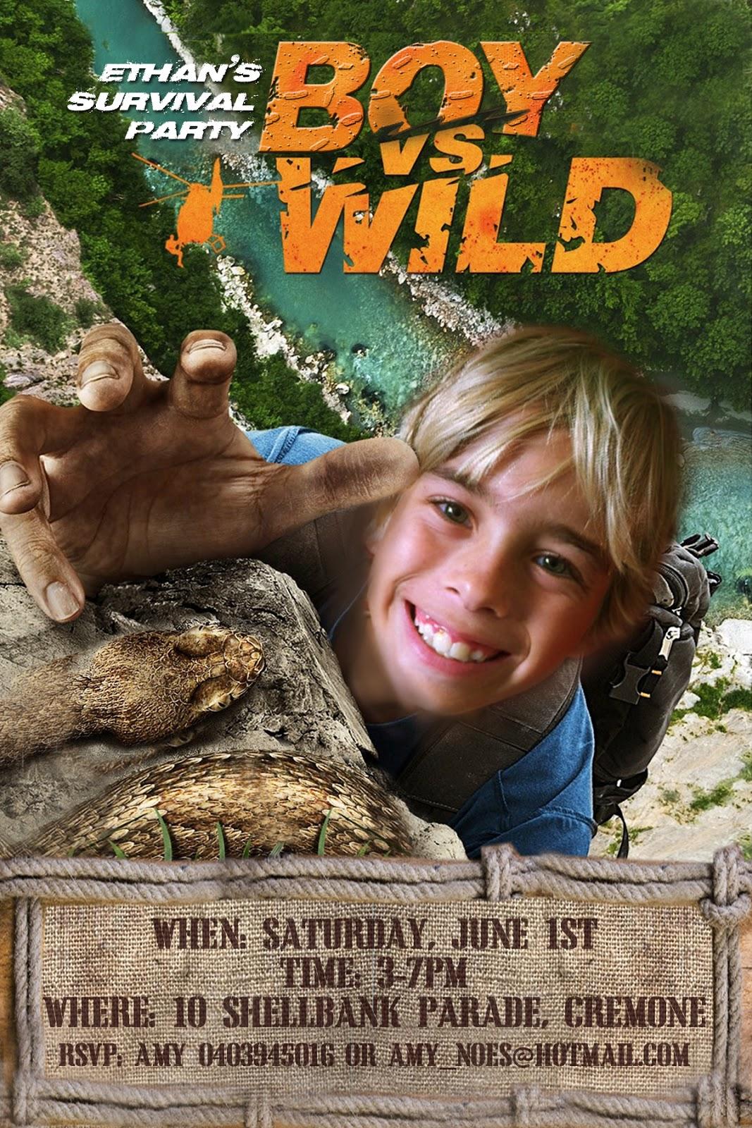 Free Kids Party Invitations Boy Vs Wild Bear Grylls