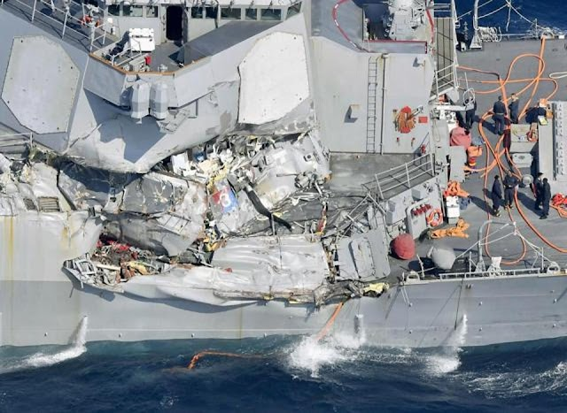 #LateUpdate#Video:Seven US Navy sailors were missing after US destroyer and a container ship collided off Japan