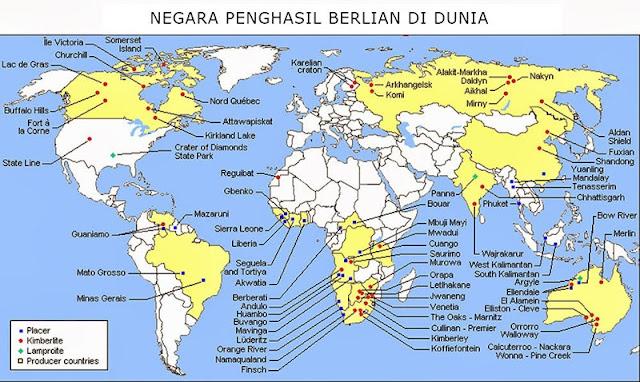 peta negara penghasil berlian di dunia